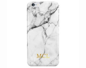 Personalised Name initials White Gold Marble Phone Case for Apple iPhone 5 6 7 Plus & Samsung Galaxy Personalized Customized Monogram
