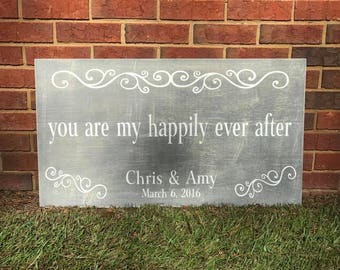 "HAPPILY EVER AFTER Wooden Sign ~ 16"" x 36"""