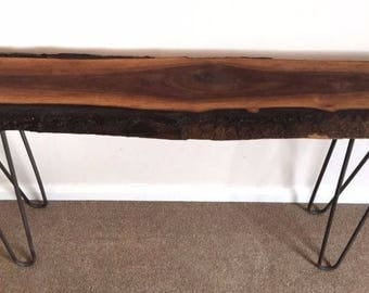 American walnut epoxy resin console table