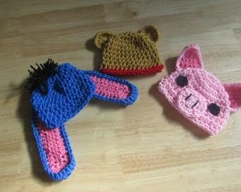 Hand Crochet Baby Winnie the Pooh, Eeyore, or Piglet Photo Prop Beanie Hat Preemie to Toddler Sizes