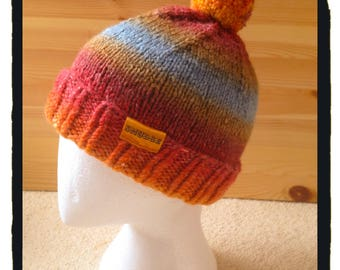 Ladies Hand-Knitted Bobble Hat in Sunset Colours, size medium.