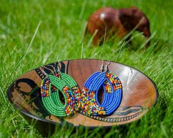 Blue Oval Beaded Earrings - Handmade in Zambia, Africa