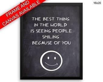 Smiling Printed  Poster Smiling Framed Smiling Inspirational Art Smiling Inspirational Print Smiling Canvas Smiling smiley life goal