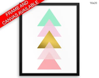 Geometric Prints  Abstract Canvas Wall Art Geometric Framed Print Abstract Wall Art Canvas Geometric Wal Artwork Home Decor Gold Triangle