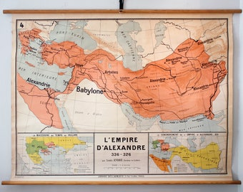 Vintage Very Rare Alexander The Great Empire School Map from Librairie Delagrave