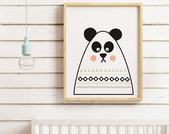 Modern with Retro pattern Panda print for children's room or babies nursery by Kirsty Mason Designs