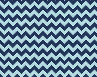 Chevron Navy Tone on Tone Small Cotton Fabric - Riley Blake Fabrics - Perfect for Nursery, Clothing, and Quilts