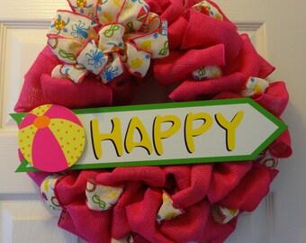"Pink ""Happy"" Summer Wreath"