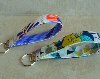 CUSTOM MADE Orange/Purple/Blue/Lime Green Floral, Keychain, Key Fob, Wristlet Keychain, Wristlet Key Fob