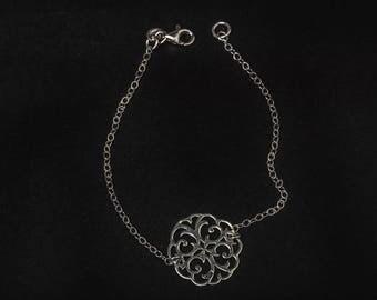 925 sterling silver mandala link chain bracelet
