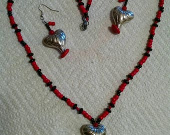 Queen of hearts - necklace earring set