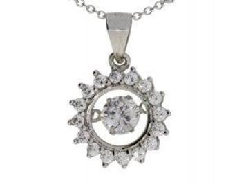 Cubic zirconium circle of love pendant sterling silver