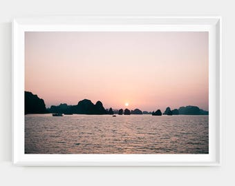 Sunset in Halong Bay Print // Incredible Landscape //  photography print // travel photography  // beautiful landscape //