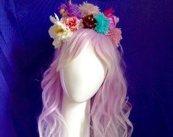 Mermaid doll festival pompom and flower crown