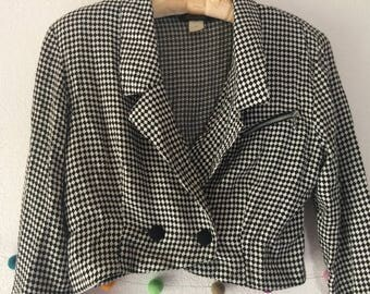 Checkered black and white '80s double-breasted blazer