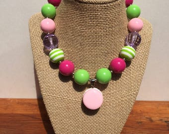 Pink Macaroon w/green and hot pink Chunkie Necklace for Girls.