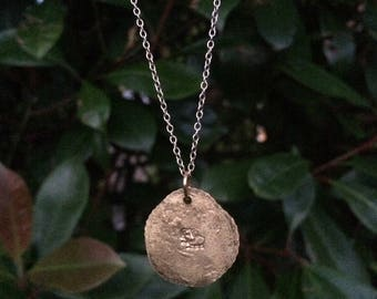 Handmade upcycled copper elephant printed pendant necklace