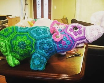 crochet hexagon elephant