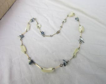 Vintage Retro Steampunk Mother of Pearl Silver Tone Necklace