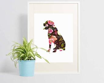 Labrador Art - Labrador Print - Instant Download - Labrador Gift - Downloadable Print - Labrador Flowers - Dog Art - Black Lab