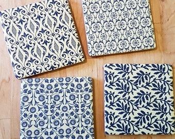 Traditional blue ceramic coasters - set of 4