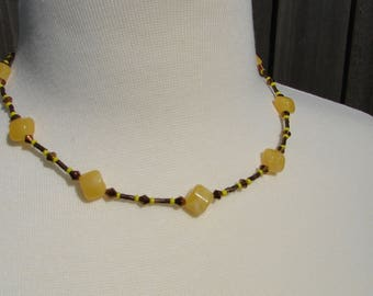 Earthy Yellow and Brown Beaded Necklace