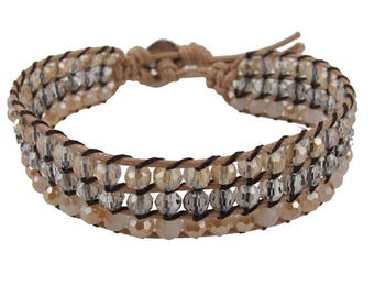 Woven Beaded Bracelet with button closure