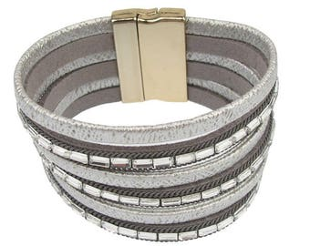 Gray leather and magnetic bracelets