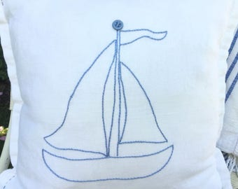 Hand Embroidery Sailboat On Handmade Vintage Linen Pillow