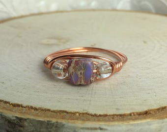 Marbelized Purple Copper Ring