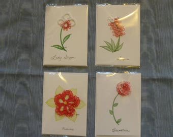 blank all occasion cards with tatted flowers