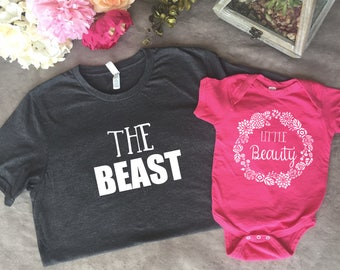 Daddy Daughter matching t shirts, beauty and the beast, birthday present, baby shower, fathers day