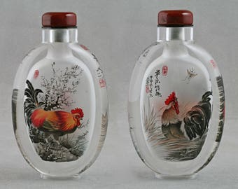 Chinese snuff bottle crystal inside painted