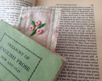 Hand embroidered bookmark pink tose design