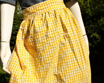 Vintage Yellow Gingham Country Style Half Apron