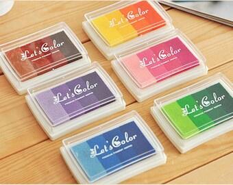 6 Pcs Fingerprint Wedding Tree Ink Pad - Craft Colorful Ink Pad -Gradient Ink Pad