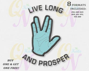 BOGO FREE! Star Trek applique Embroidery Designs, Spock, Vulcan Salute applique Embroidery Designs, Digital instant download, #019