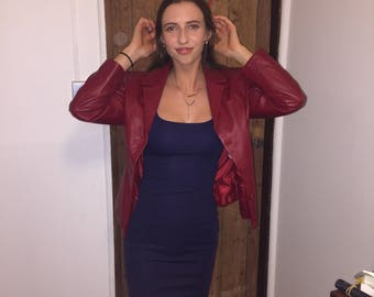 Vintage REAL ITALIAN LEATHER red/burgundy coat/jacket