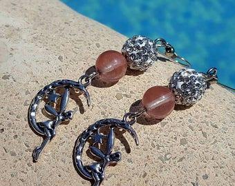 Precious semi stone earrings - handmade - single