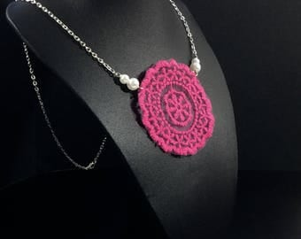 Pink lace one of a kind necklace