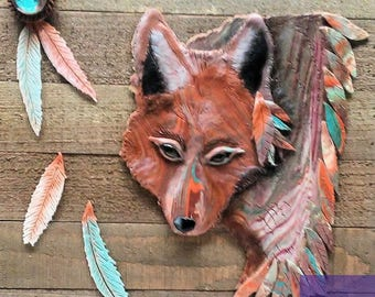 Coyote polymer clay bas relief wall hanging