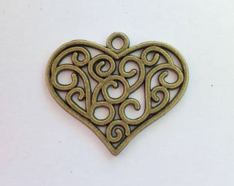 Antiqued Bronze Swirl Heart Charms 23 x 26mm