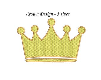 Crown Embroidery Design - Baby Crown 3 sizes machine embroidery INSTANT DOWNLOAD