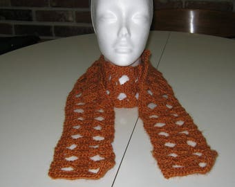 Pumpkin(ish) Crochet Scarf Handmade Orange Rust