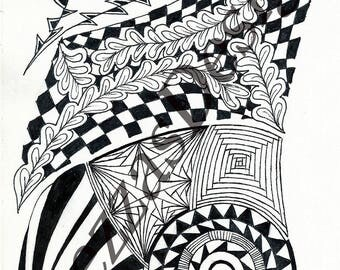 Downloadable Coloring Template Zentangle