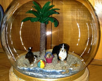 Summer Beach Globe with Bernese Mountain Dog