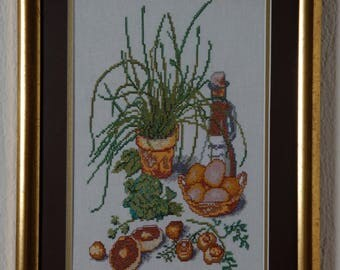 Framed Needle Work Wall Decor Picture  40x30 cm Organic Food