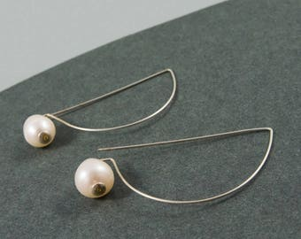 Minimalist earrings, Handmade earrings, Silver earrings, Wife earrings, Pearls earrings, Silver jewelry, Bridesmaid jewelry, Italian jewelry
