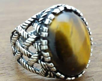 Handmade Silver Mens Ring With Natural Tigereye Stone