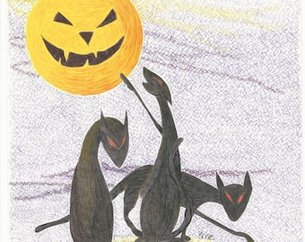 Halloween Cats with Jack-O-Lantern Moon